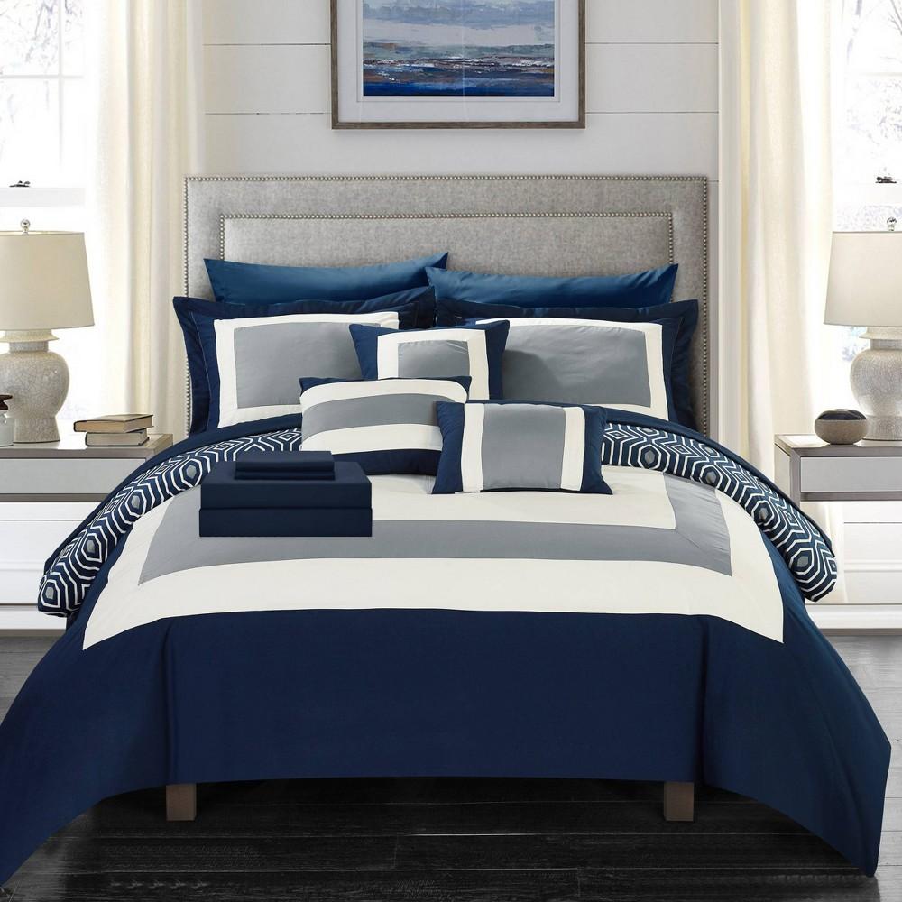 Queen 10pc Heldin Bed In A Bag Comforter Set Navy Chic Home Design