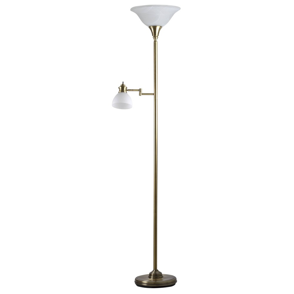 Image of Aaron Torchiere Swing Arm Reading Light- Antique Brass - Adesso