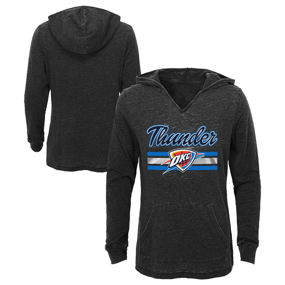 Oklahoma City Thunder Girls' Top of the Key Gray Burnout Hoodie M, Multicolored