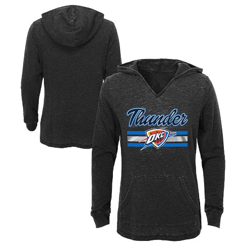 Oklahoma City Thunder Girls' Top of the Key Gray Burnout Hoodie XS - image 1 of 3