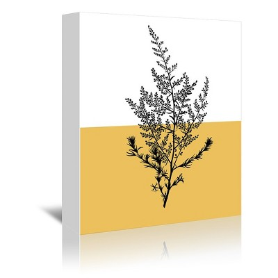 Americanflat Floral Sprig Yellow by Lisa Nohren Wrapped Canvas