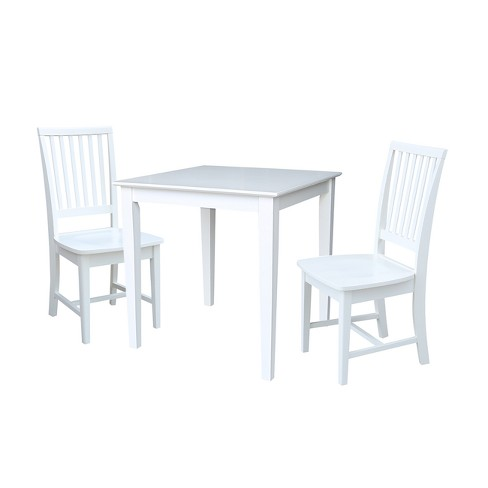 3pc Solid Wood Dining Table With Two Mission Chairs In White International Concepts Target