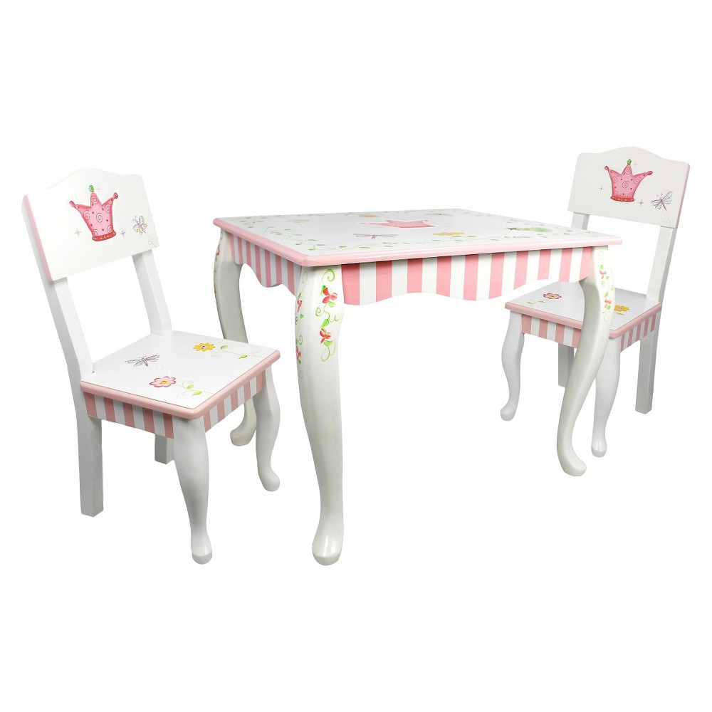 3 Piece Fantasy Fields Princess Frog Table and Chair Set Wood/Multi-Colored - Teamson