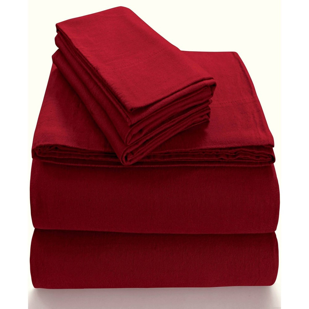 Image of Queen Extra Deep Pocket Solid Sheet Set Deep Red - Tribeca Living