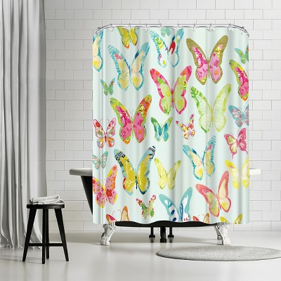 """Americanflat Bug Butterflies Mint by Kristine Lombardi 71"""" x 74"""" Shower Curtain"""
