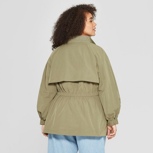 83266558bbf Women s Plus Size Duo Front Pocket Button Snap Detail Stand Collar Utility  Anorak Jacket - Who What Wear™ Green   Target