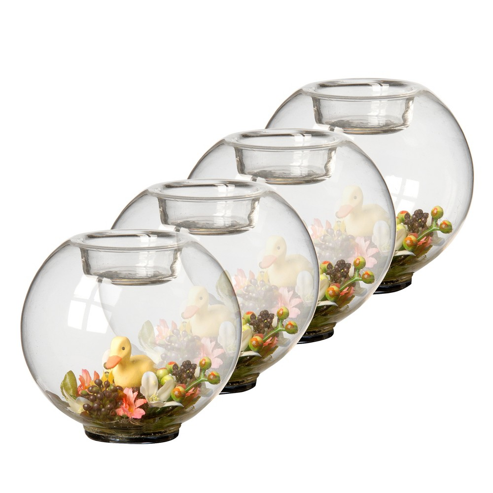 Image of Duckling Glass Candleholder Clear/Yellow 4pk - National Tree Company