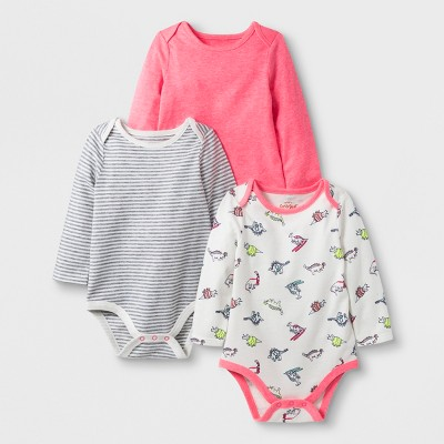 Baby Girls' 3pc Long Sleeve Bodysuit Set - Cat & Jack™ Pink/Cream/Gray Newborn