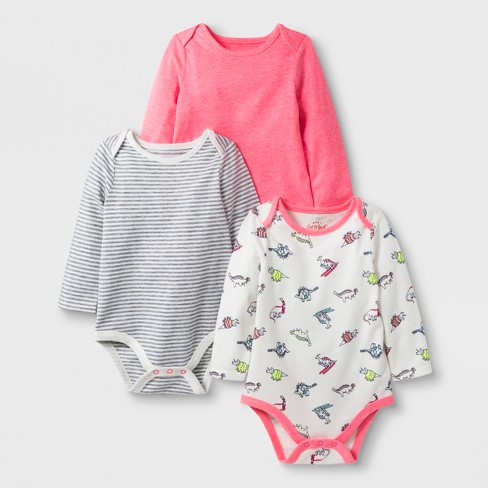 cdd09c45e Baby Girls  3pc Long Sleeve Bodysuit Set - Cat   Jack™ Pink Cream ...