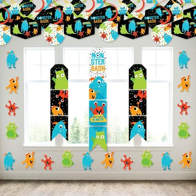 Big Dot of Happiness Monster Bash - Wall and Door Hanging Decor - Little Monster Birthday Party or Baby Shower Room Decoration Kit
