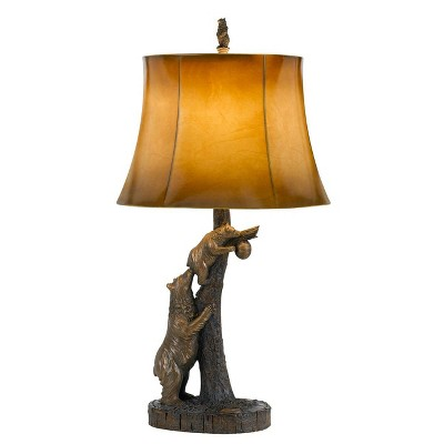 """31"""" Bear Resin Table Lamp with Leatherette Shade Brown - Cal Lighting"""
