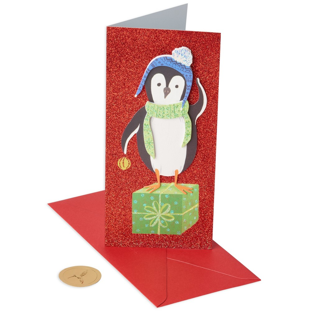 Papyrus 10ct Penguin on Gift Allegro Holiday Boxed Cards, Multi-Colored This card pack has a Christmas theme and contains glitter detail cards. This multicolor card pack features a lovely penguin pattern. Color: Multi-Colored.
