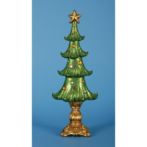 "Lynn Roberts Set of 2 Ornate Shimmering Glittered Christmas Tree Tabletop Decor 19.5"" - image 1 of 1"