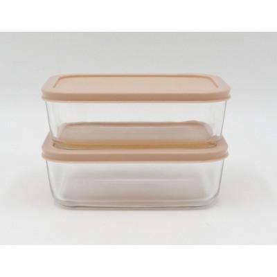 4.2 Cup 2pk Rectangular Glass Food Storage Container Set Light Peach - Room Essentials™