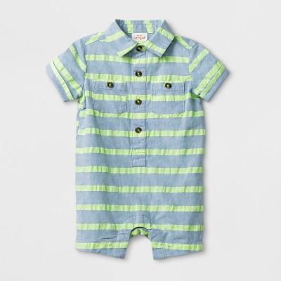 Baby Boys' Striped Short Sleeve Button-Down Romper - Cat & Jack™ Green Newborn