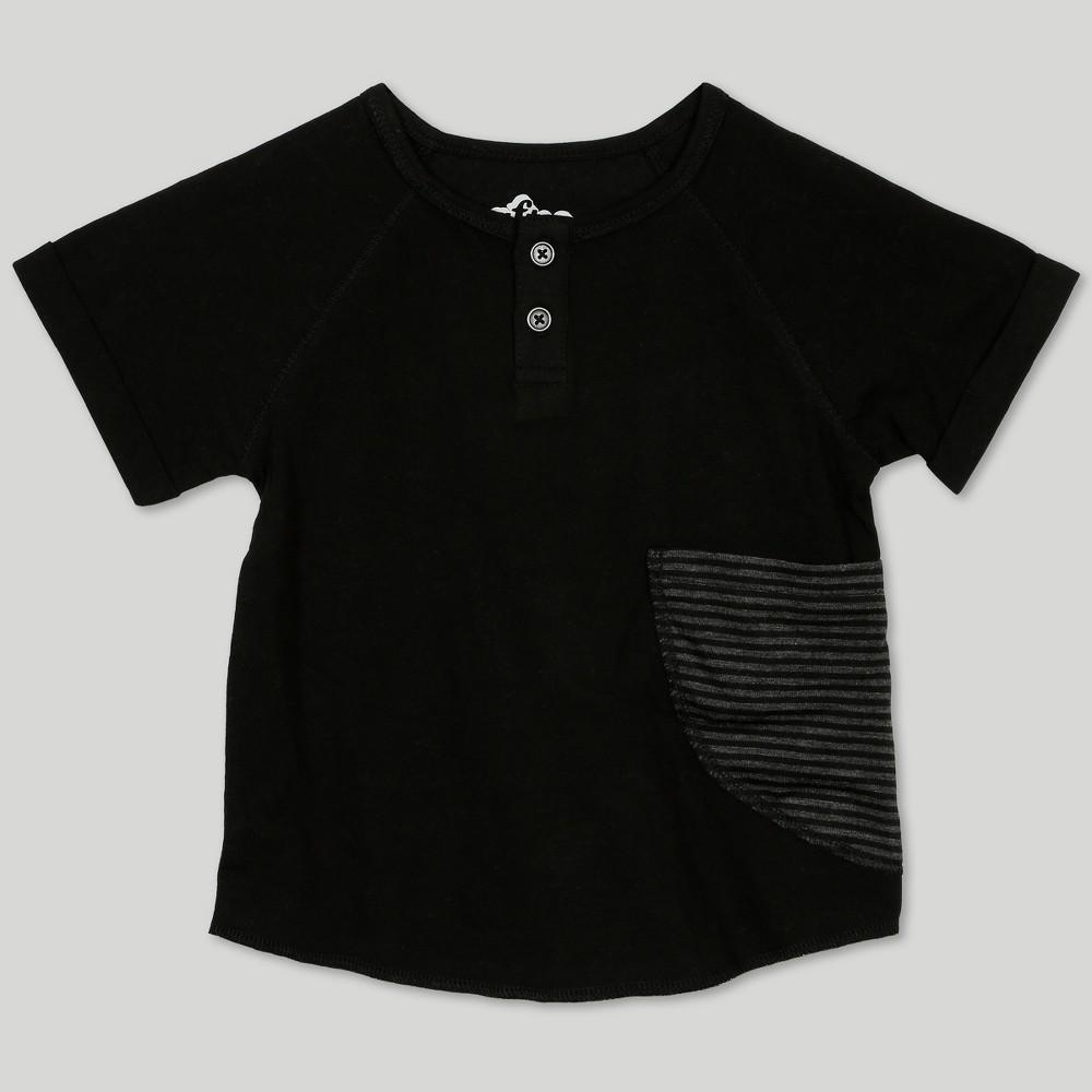 Afton Street Toddler Boys' Short Sleeve Raglan Henley - Black 18M