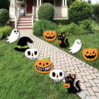 Big Dot of Happiness Jack-O'-Lantern Halloween - Black Cat Ghost Skull & Witch Hat Lawn Decor - Outdoor Kids Halloween Party Yard Decorations - 10 Pc