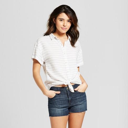 a0e82fa27b9 Women s Short Sleeve Stripe Button-Down Shirt - Universal Thread™ Blue  Stripe   Target
