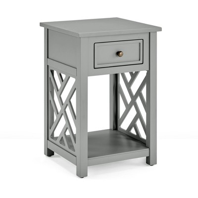 Middlebury Wood End Table with Drawer and Shelf Gray - Alaterre Furniture