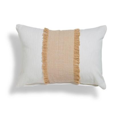 "14""x20"" Arjin Fringe Colorblock Throw Pillow Beige - Sure Fit"