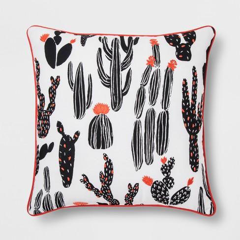Black And White Cactus Throw Pillow - Room Essentials™