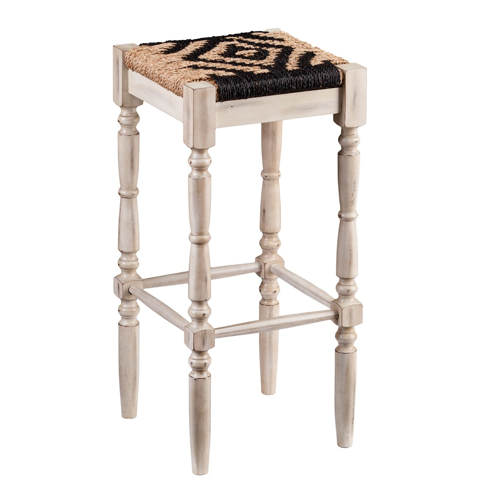 Solanta Backless Square Seagrass 30 Barstools 2pc Set Distressed White - Aiden Lane, Light Off-White