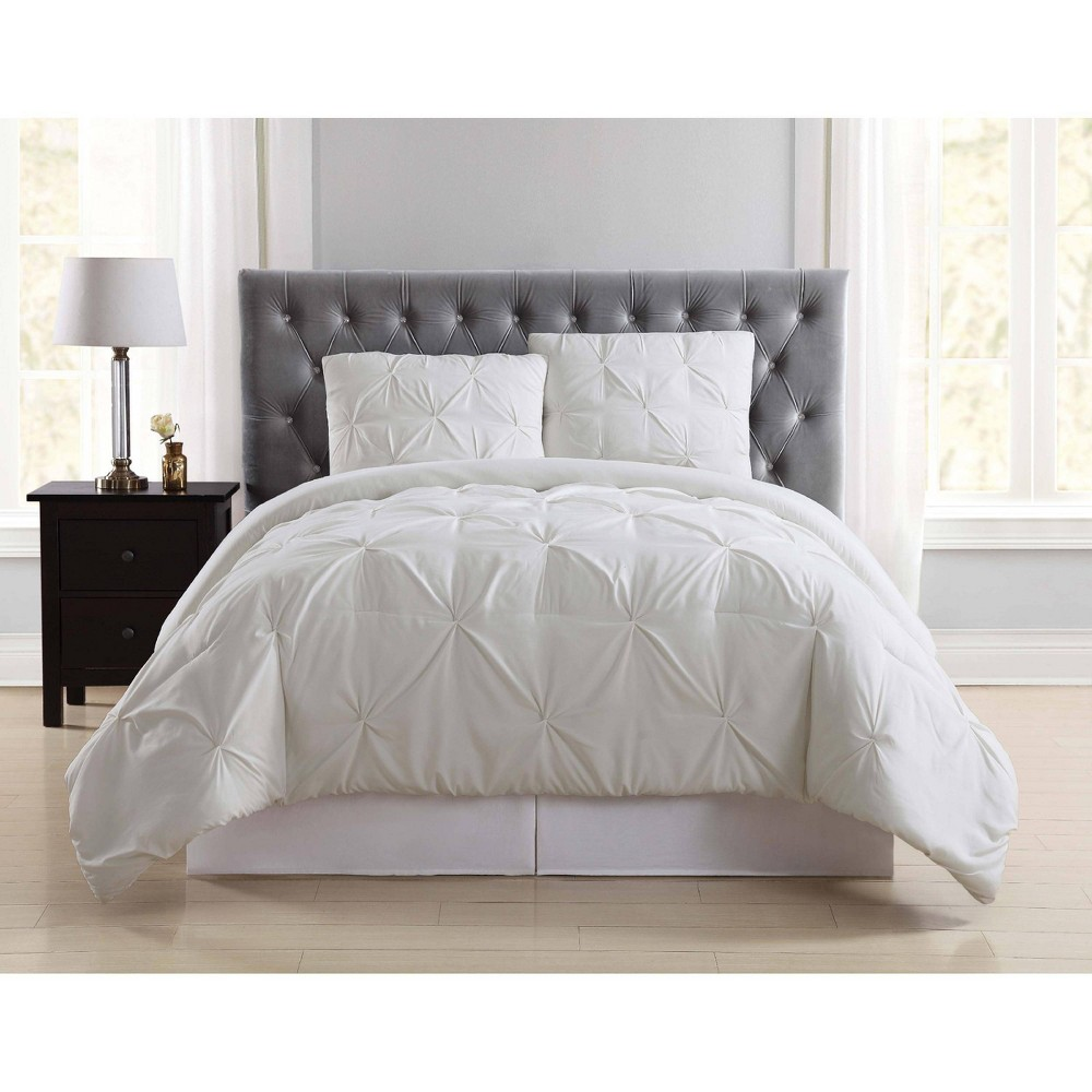 Truly Soft Everyday Twin Extra Long Pleated Duvet Cover Set Ivory