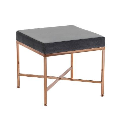 Quetre Upholstered Vanity Stool Black Aiden Lane
