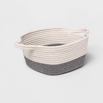 Square Coiled Rope Bin with Color Band - Cloud Island™ Gray