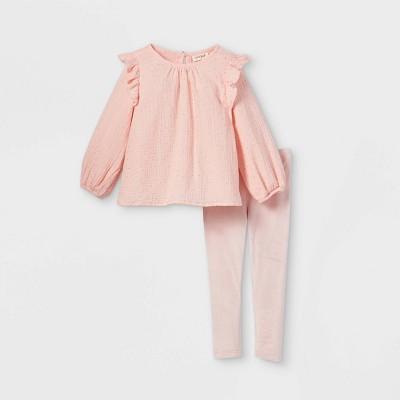 Toddler Girls' Sparkle Dot Long Sleeve Top & Velour Leggings Set - Cat & Jack™ Powder Pink