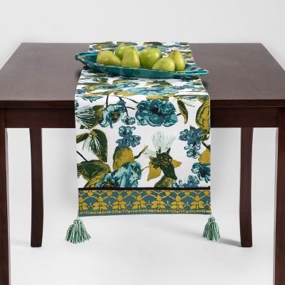 Genial Blue/Green Floral Tasseled Table Runner   Opalhouse™ : Target