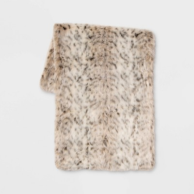 Faux Fur Animal Print Bed Scarf - Threshold™
