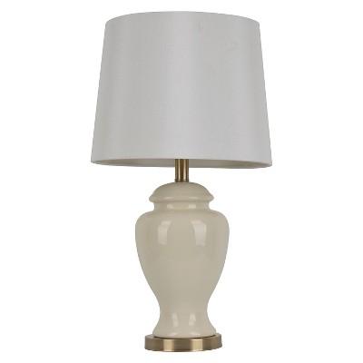 Ceramic Table Lamp (Lamp Only)- 24 H - Cream/White