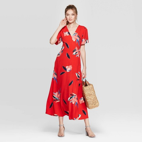 fd52104c1715f Women's Floral Print Short Sleeve V-Neck Maxi Wrap Dress - A New Day™ Red