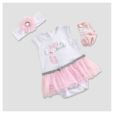 Baby Aspen Girls' My First Ballerina 3c Tutu Outfit - 0-6M