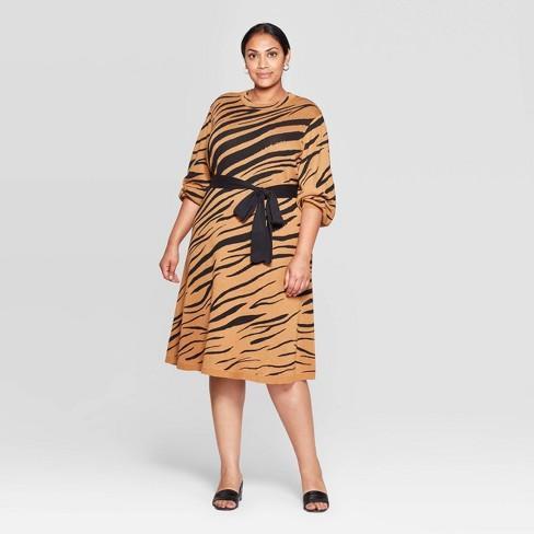 Women's Plus Size Jacquard Print 3/4 Sleeve Mock Turtleneck Intarsia Sweater Midi Dress - Who What Wear™ Tan - image 1 of 3