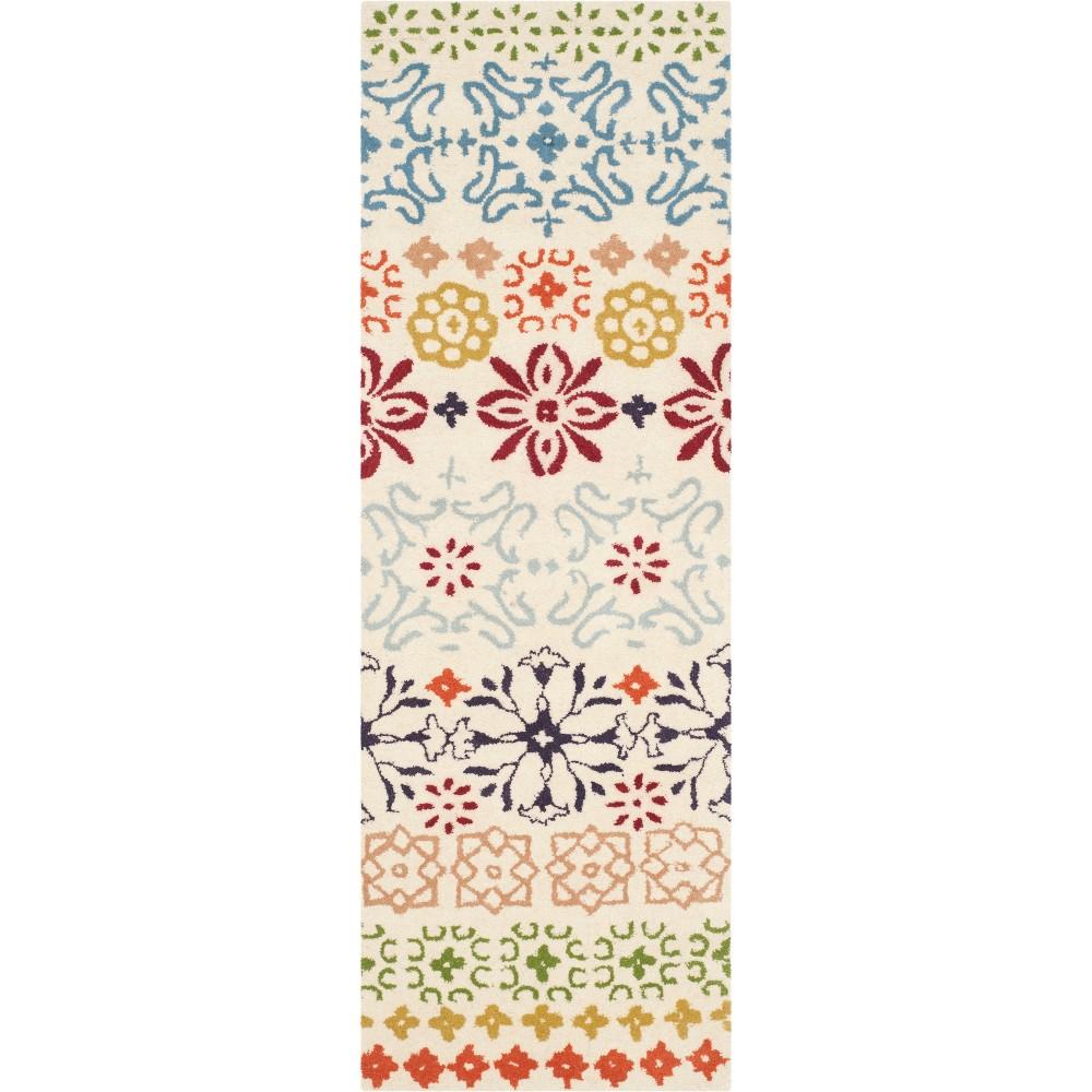 2'3X11' Floral Tufted Runner Ivory - Safavieh, White