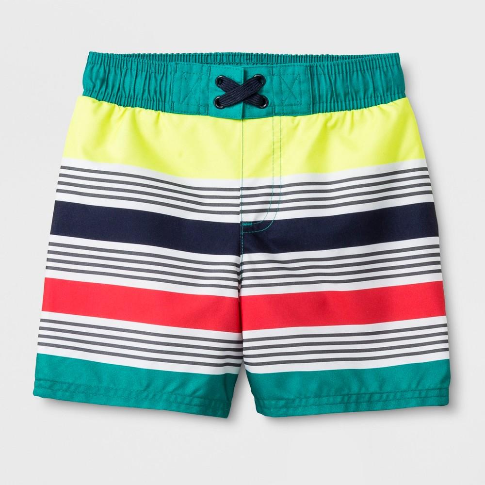 Toddler Boys' Striped Swim Trunks - Cat & Jack Turquoise 5T, Blue