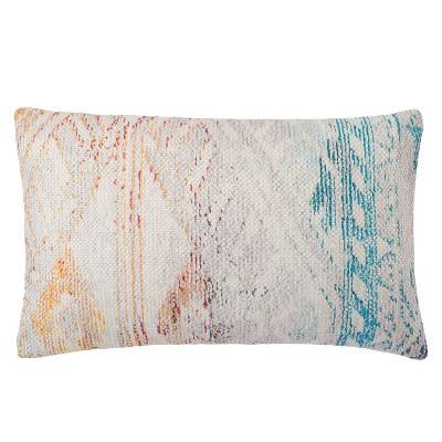"13""x21"" Oversize Geometric Indoor/Outdoor Lumbar Throw Pillow White - Jaipur Living"