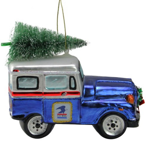 """Northlight 5"""" Blue and White USPS Post Office Truck with Frosted Tree Glass Christmas Ornament - image 1 of 3"""