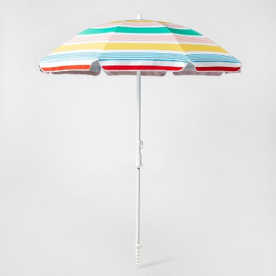 6' Striped Beach Umbrella Variegated Stripe - White/Yellow/Blue - Sun Squad™