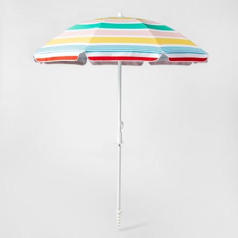 6' Striped Beach Umbrella Variegated Stripe - White/Yellow/Blue - Sun Squad™ - image 1 of 4