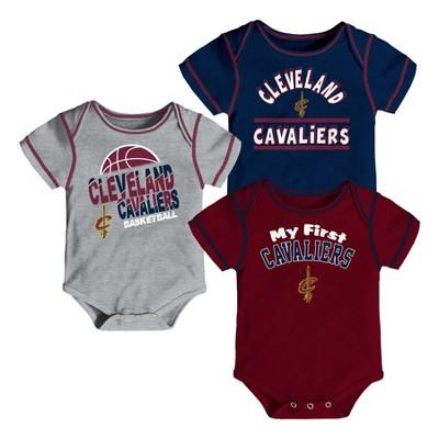 Cleveland Cavaliers Boys' Rookie 3pk Body Suit Set 3-6M