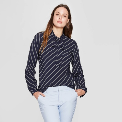Women's Striped Long Sleeve Tie-Front Top - A New Day™ Navy - image 1 of 3