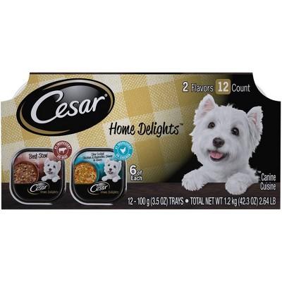 Cesar Home Delights Beef Stew & Chicken & Vegetables Dinner Wet Dog Food - 3.5oz/12ct Variety Pack