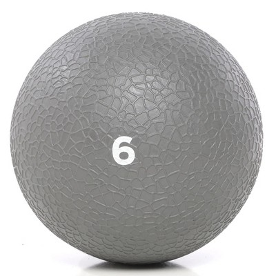 Power Systems Premium Slam Textured Rubber 10 Inch Round Exercise Ball Prime Fitness Training Weight, 6 Pounds, Gray
