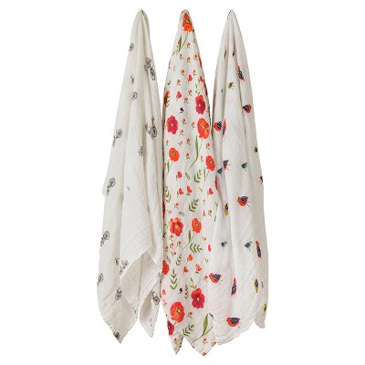 Little Unicorn Cotton Muslin Swaddle 3pk - Summer Poppy