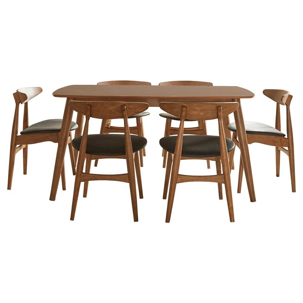 Cortland Danish Modern Walnut 7-Piece 63 Dining Set Faux Leather chair Walnut/Black - Inspire Q