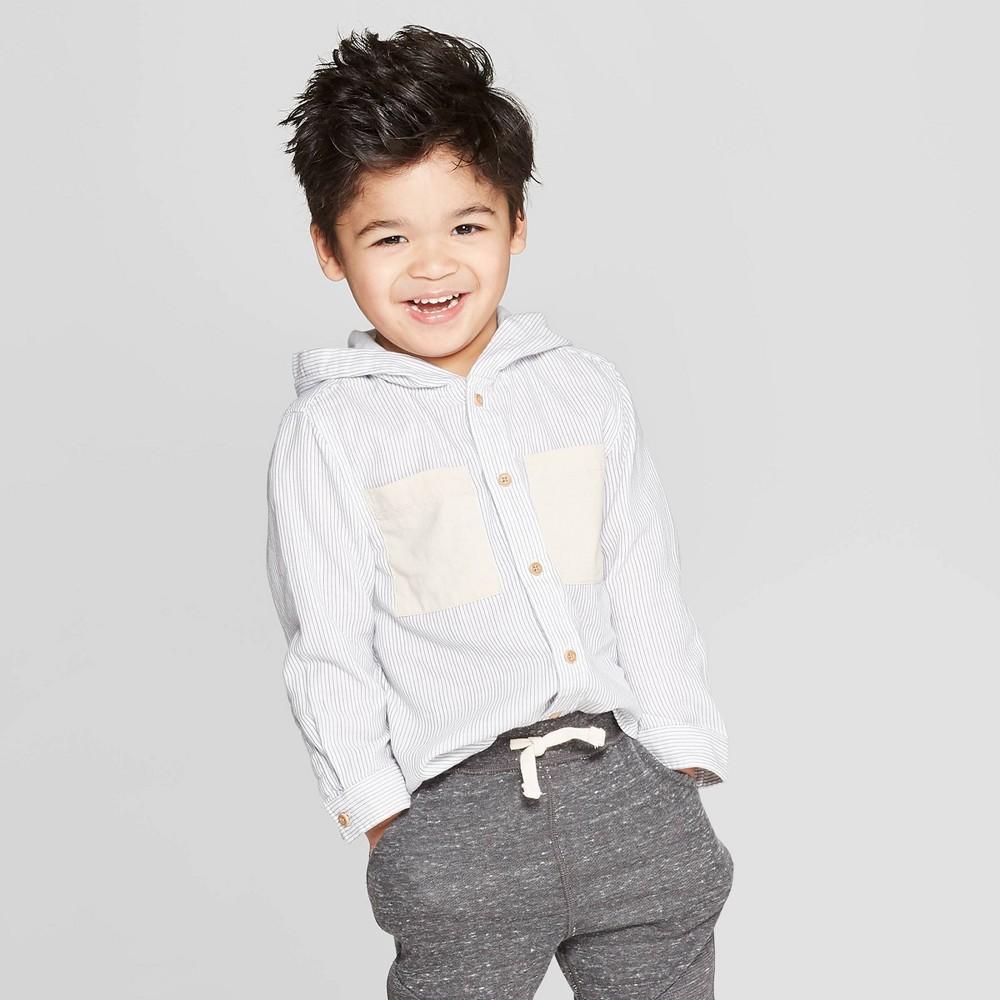 Toddler Boys' Long Sleeve Hooded Button-Down Shirt - art class Light Blue 18M