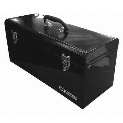 "WESTWARD 44ZJ86 24""W Steel, Black Portable Tool Box, Powder Coated, 9""H"